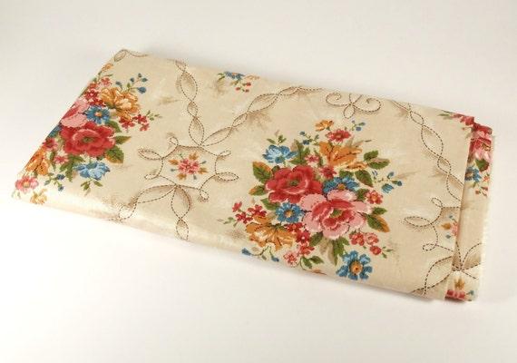 Vintage John Wolf Floral Fabric Screen Print Sample- 54 x 55