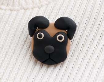 Pug Dog Brooch Pin