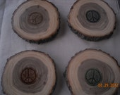 Peace Sign Wood Coasters - From Tree Slices -Set of 4