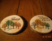 Inspirational Wood Coasters from Tree Slices- Set of 2