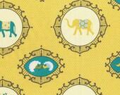 Nursery Fabric - Elephant Fabric - Yellow Fabric - Michael Miller Menagerie