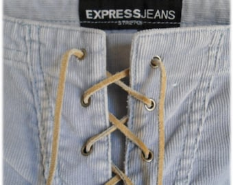 Vintage Express Lacing Front Corduroy Jeans - Gray Stretch Size 1-2