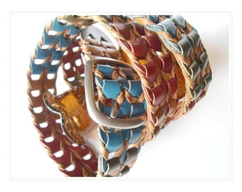 Western Boho Tribal: Vintage Multi Colored Genuine Leather Belt - Size 2XL - 42 or Less - Unisex -