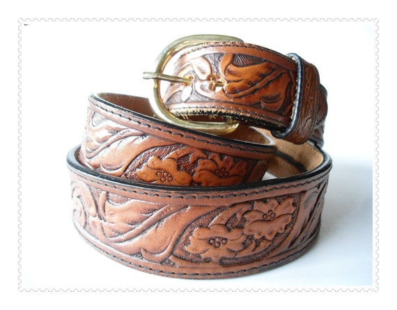 Western Silver Creek Tooled Money Belt - Genuine Leather Belt - Size 42 - Removable Buckle - Leegin  Brighton