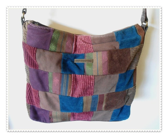 Vtg BOHO Patchwork CARIBBEAN JOE Shoulder Bag Purse -  Many Textures and Colors