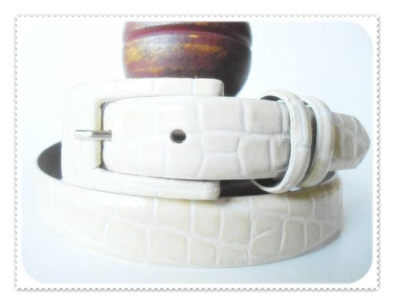 Italian Leather IVORY Croco Crocodile Reptile Embossed TAROX Skinny Narrow Womens Belt Size L Large