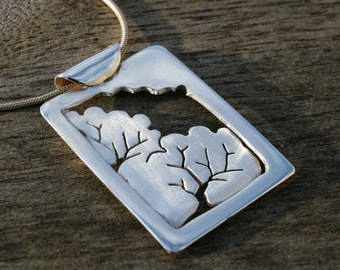 Silver Pendant, 'Woodland Window', silver jewelry