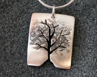 Silver Tree Pendant, Silver Jewelry, Silver Jewellery, Silver Pendant, Leafy Tree Necklace.