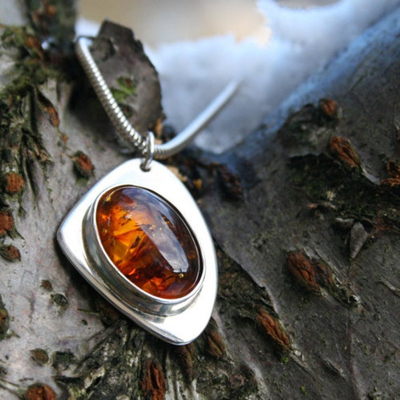 Silver Jewelry, Silver Jewellery, Sterling Silver Pendant, Amber Pendant.