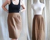 Vintage Camel Wool Pleated Pencil Skirt