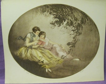 Vintage print, THE ROMANCE, by Feld, an Icart contemporary