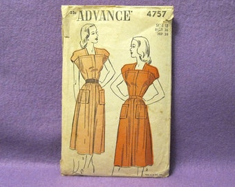 1940's Advance Sewing Pattern, Cap Sleeve, Square Neck Dress