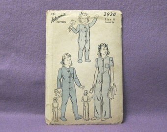 Vintage 1940's child's Advance pajama pattern like Dr. Dentons