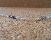 Sterling beaded anklet with iolite, citrine, aquamarine and Czech glass seed beads