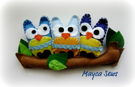 Blue Owl Friends. 3D Wall hanging for a baby boy's nursery. Boy's room. READY TO SHIP.