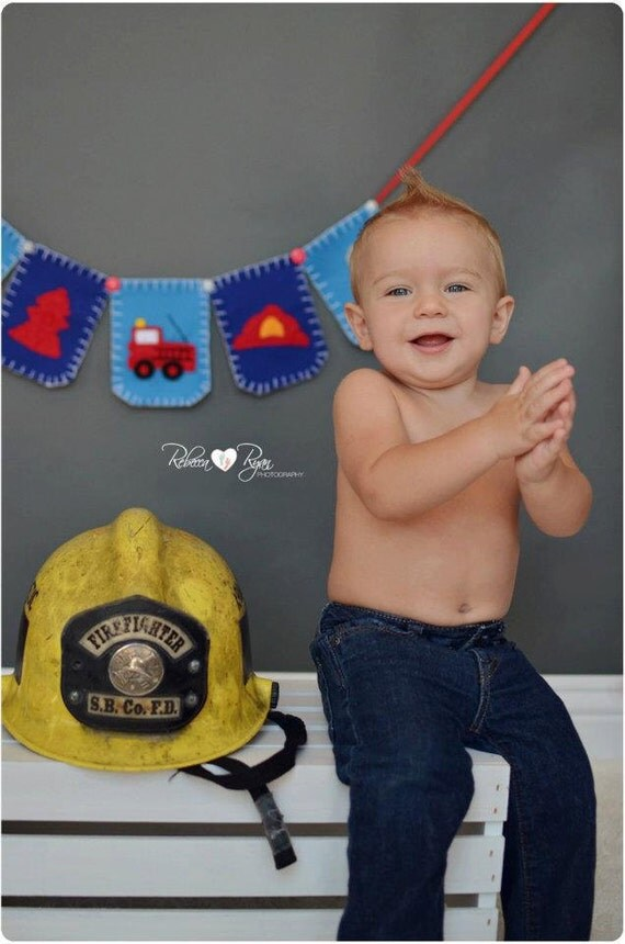 Fireman Bunting. Firefighter Nursery Art. Baby Shower. Blue. Felt.  Eco-Friendly. Reusable. Photo prop. Made to order item.