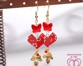 Red Heart Shapped Origami Earrings with Swarovski Crystal Butterflies