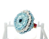 Adjustable cocktail Rings ring - light blue and silver rings
