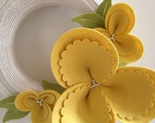 CUSTOM FOR LORI: Spring wreath, felt blossom and upcycled sweater, yellow on cream
