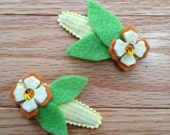 Spring hair clip, orange and yellow felt on yellow gingham