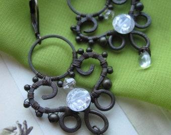 Filigree Wire earrings, oxidized copper wire, handmade jewelry, wire weaving earrings, wire wrap earrings, wire earrings