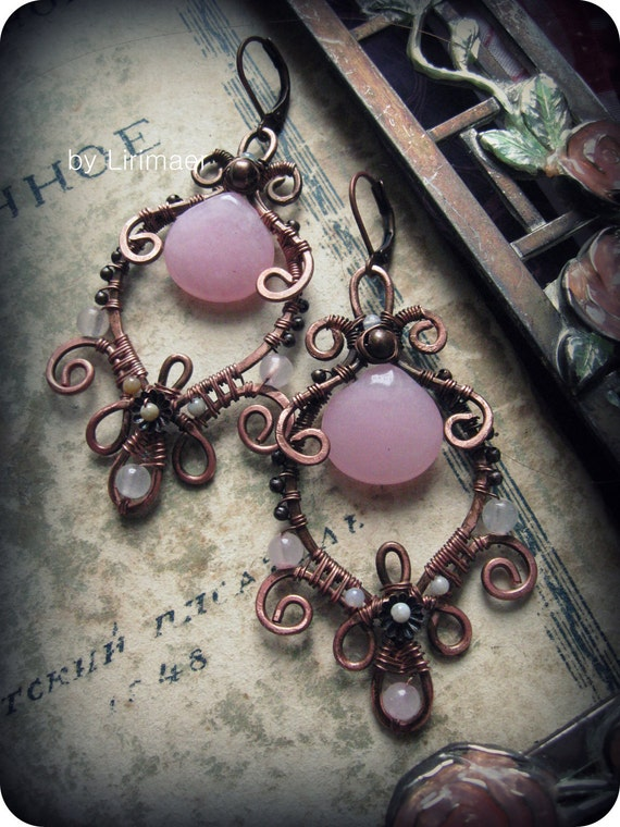 Ornate Artisan Wire Wrapped Copper Statement earrings - Victorian style, pink jade, pink quartz, white agate beads,