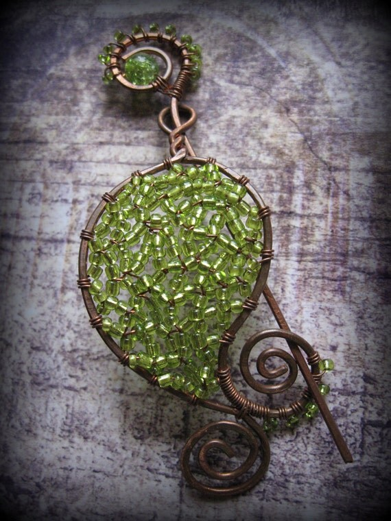 Copper Shawl Pin Scarf or Sweater Pin Fibula Wire Wrapped Jewelry Hammered Copper Brooch Peridot green Brooch