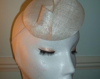 Sinamay Button Hat - White sinamay Twist - buton hat,fascinator,headpiece - Bridal,bridesmaid -Hand Blocked