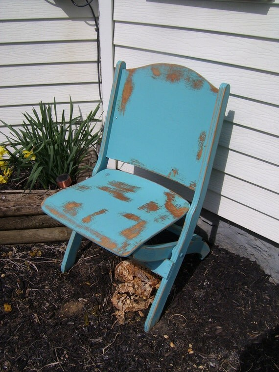 Vintage Distressed Turquoise Shabby Folding Wooden Chair