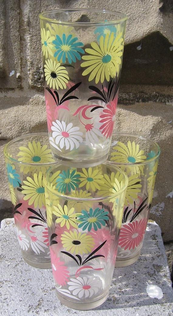 4 Vintage Bright Floral Drinking Glasses- Hazel Atlas