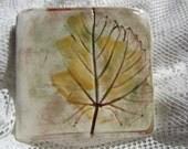 Four Colorful Ceramic Grape Leaves