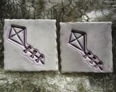 RESERVED 10 Ceramic Purple and White Kite Tiles Mosaics Supplies Garden Art