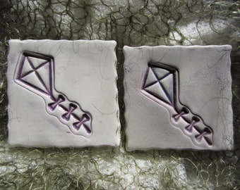 SALE Ceramic Purple and White Kite Tiles Mosaics Supplies Garden Art