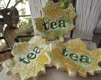 Three Ceramic Autumn Leaves Tea Bag Holders Holiday Gift Stocking Stuffer Home Decor
