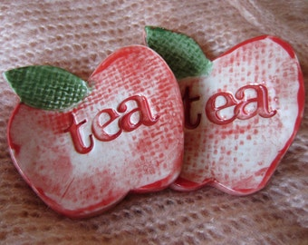 2 Red Apple Tea Bag Holders