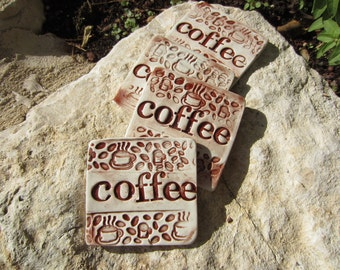 Four  Brown Coffee Coasters