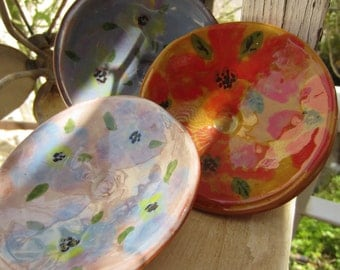 Three Flowered Terra Cota Bowls