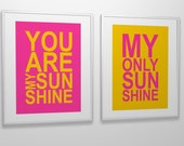 Nursery art print You Are My Sunshine custom colors and size PRINTABLE