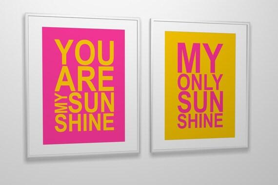 Nursery art print You Are My Sunshine custom colors and size PRINTABLE