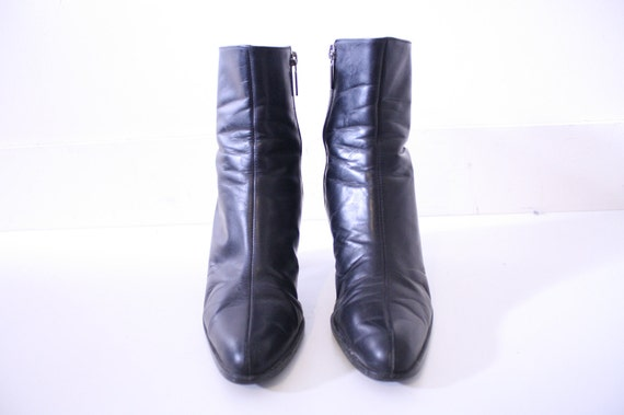SALE 90s Designer Grunge Goth Leather Ankle Boots