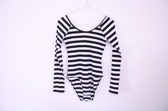 SALE 80s Bold Stripe Long Sleeved Bodysuit / Leotard