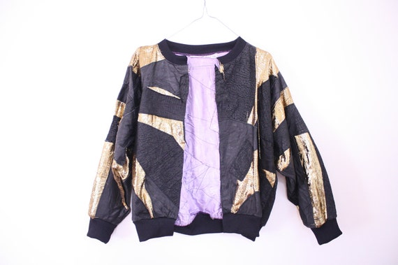 SALE 80s Leather & Metallic Gold Patchwork Jacket