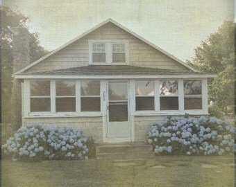 Beach Side Cottage with Hydrangea Bushes Photo Print in Vintage Texture Faded Finish. 8 x 8 inch square