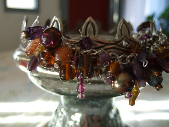 Chunky Purple, Brown, and Golds Glass Beaded Bracelet