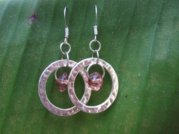 Silver Ring Hoop with Plum Bead Dangle Center