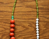 Clairabelle Necklace - Coral, White, Apple Green and Mint Green Single Strand Glass Beads