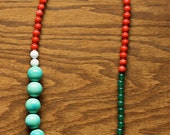 Clairabelle Necklace - Red, White, Aqua, and Green Single Strand Glass Beads
