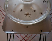 VINTAGE MID CENTURY Fire King Atomic Gold Stars Casserole Dish with Warmer Pedestal