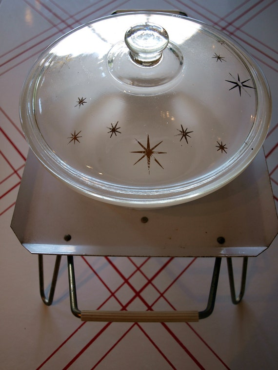 VINTAGE MID CENTURY Fire King Atomic Gold Stars Casserole Dish with Warmer Pedestal