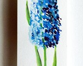 FLOWERS - Drawings with Ink, pencil and acrylic - Blue flower - acrylic on acid free paper